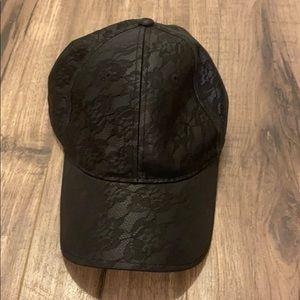 bebe Accessories - bebe Faux Leather lace-print black hat 🧢
